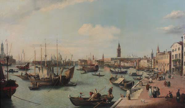 """Vista de Venecia: Riva degli schiavoni hacia San Marcos"""